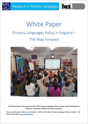 Front cover of the white paper - Primary Languages Policy in England – The Way Forward