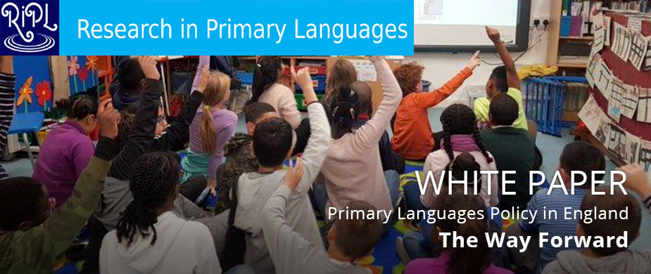 Picture of children in a class with hands up - ad for RIPL White Paper