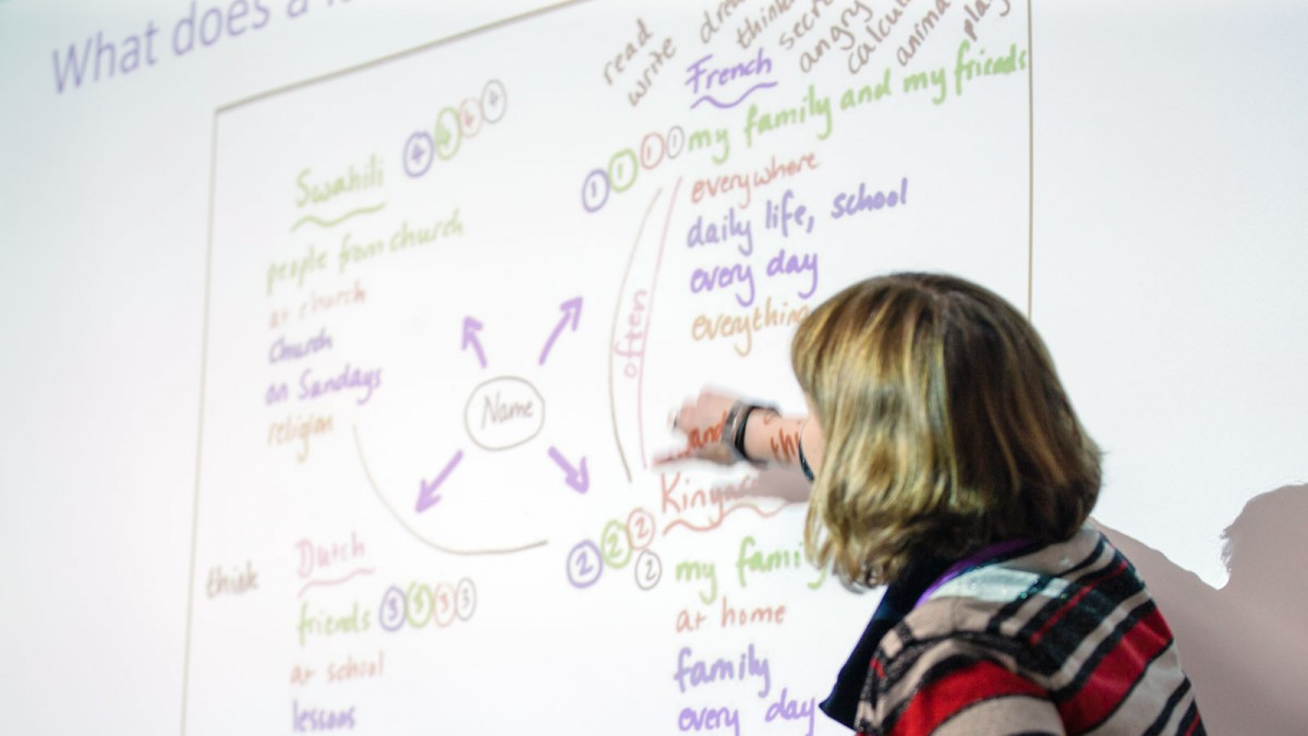 A person presenting on a whiteboard